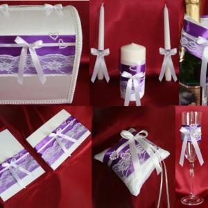 комплект для свадьбы Кружево и жемчуг лиловый