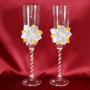 Бокалы свадебные жёлтые с цветами 148