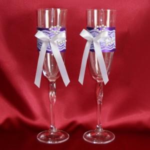 Бокалы для свадьбы Кружево и жемчуг лиловые