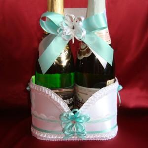 Украшение на шампанское цв. Тиффани 67