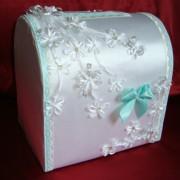 Сундучок с цветами на свадьбу цвТиффани 103