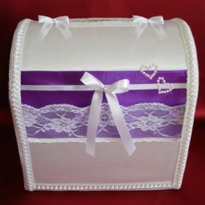 Сундучок для денег на свадьбу лиловый 105