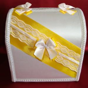Жёлтый сундучок для денег на свадьбу 106