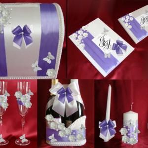 Фиолетовый комплект Танец бабочек для свадьбы