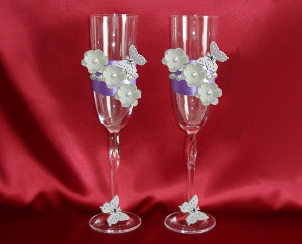 Фиолетовые бокалы на свадьбу 152