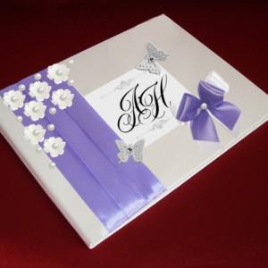 Книга для пожеланий на свадьбу фиолетовая 32