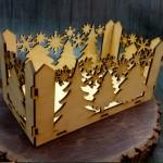 новогоднее деревянное кашпо