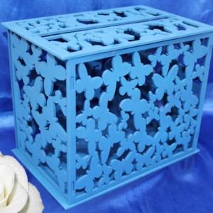 Голубой деревянный сундучок на свадьбу 32