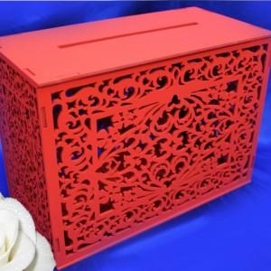 резной деревянный свадебный сундучок красный 33