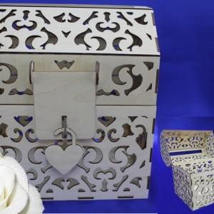 Свадебный деревянный сундучок с замком 112