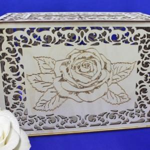 Деревянный сундучок с розой на свадьбу 114