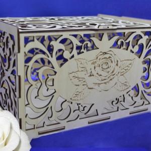 Резной деревянный свадебный сундучок роза1 115