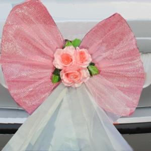 Бант розовый на багажник 6