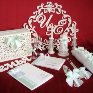 Комплект свадебных аксессуаров мятный светлый