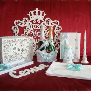 Коиплект аксессуаров для свадьбы с резными изделиями