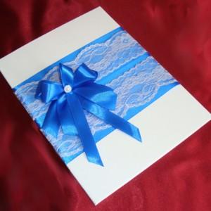 Папка для свидетельства на свадьбу синяя с файлом 37