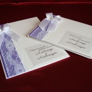 Папка и книга пожеланий на свадьбу фиолетовые 27