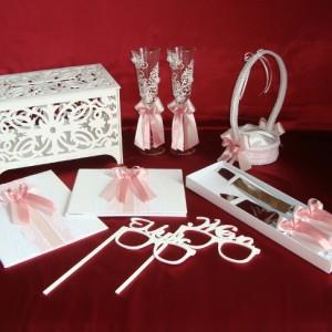 Комплект аксессуаров для свадьбы роза пудра