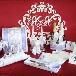 свадебный комплект аксессуаров кружевной фиолетовый