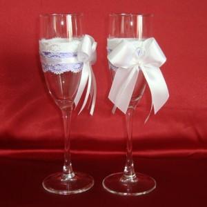 Фиолетовые свадебные бокалы 156