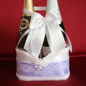 Корзиночка для шампанского на свадьбу фиолетовая 74