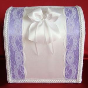 Фиолетовый сундучок с кружевом на свадьбу 118