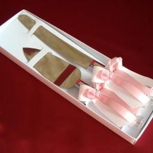 Приборы для свадебного торта роза пудра