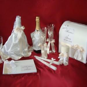 комплект аксессуаров на свадьбу бежевый