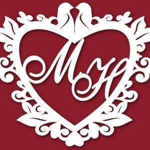 Свадебный герб сердце и голуби