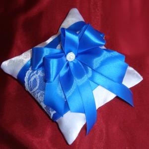 Подушечка для колец синяя