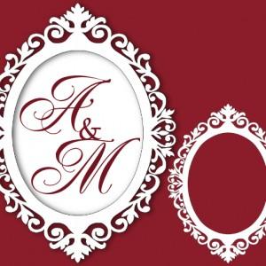Рамка с вензелями на свадьбу овальная в аренду