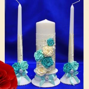 комплект свечей на свадьу цв Тиффани 109