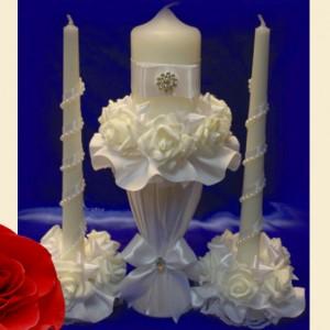 свечи кремовые с подставками на свадьбу 112