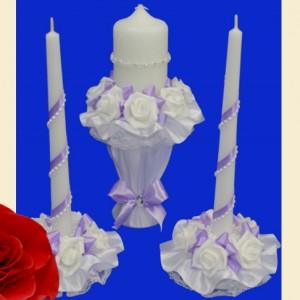 Сиреневый комплект свечей на свадьбу 115