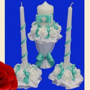 мятный комплект свечей на свадьбу 116