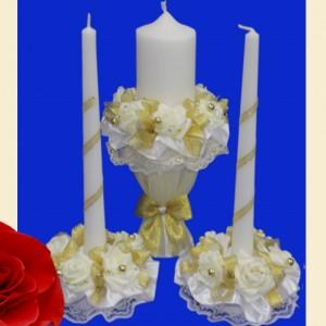 Золотой комплект свечей на свадьбу 117
