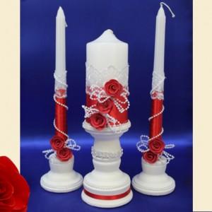 Свечи с подставками на свадьбу красные 93