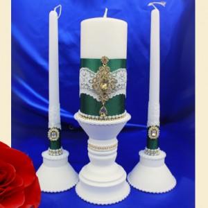 набор свечей с подсвечниками изумруд