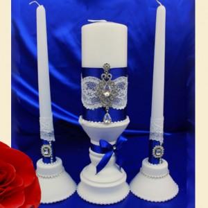 Свадебный комплект свечей синий 98