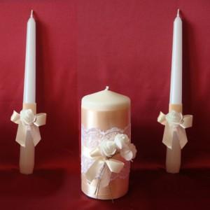 Свечи Семейный очаг с розами айвори на свадьбу