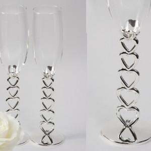 Бокалы свадебные с необычной ножкой 163
