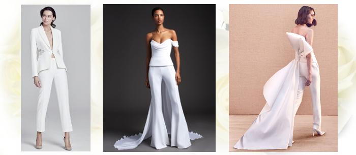 Брючный свадебный костюм невесты 2020