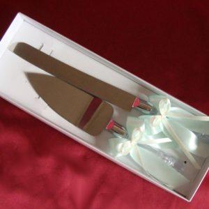 Набор нож и лопатка для торта мята айвори