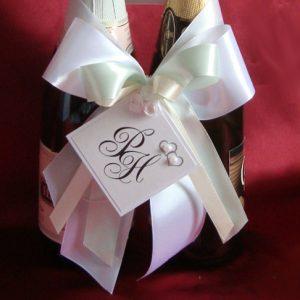 украшение на шампанское мята айвори