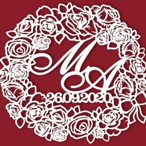 Герб на свадьб в обрамлении роз