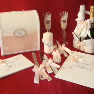 комплект свадебных аксессуаров персик