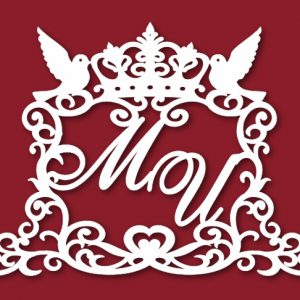Свадебный герб с короной и голубями