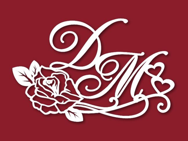 Семейная монограмма с розой и сердцами