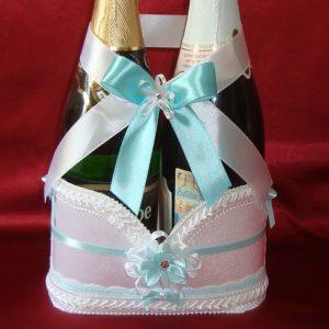 украшение на шампанское на свадьбу бирюза